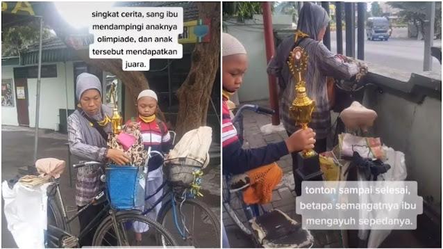 Viral Ibu Antar Anak Ikut Olimpiade Naik Sepeda, Endingnya Bikin Mewek