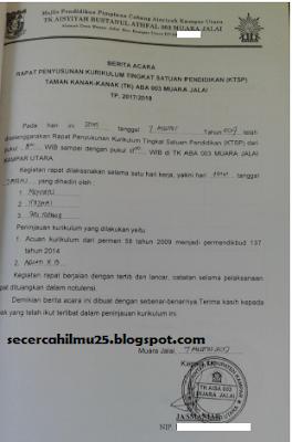 Contoh Dokumen Berita Acara Hasil Rapat Kurikulum PAUD
