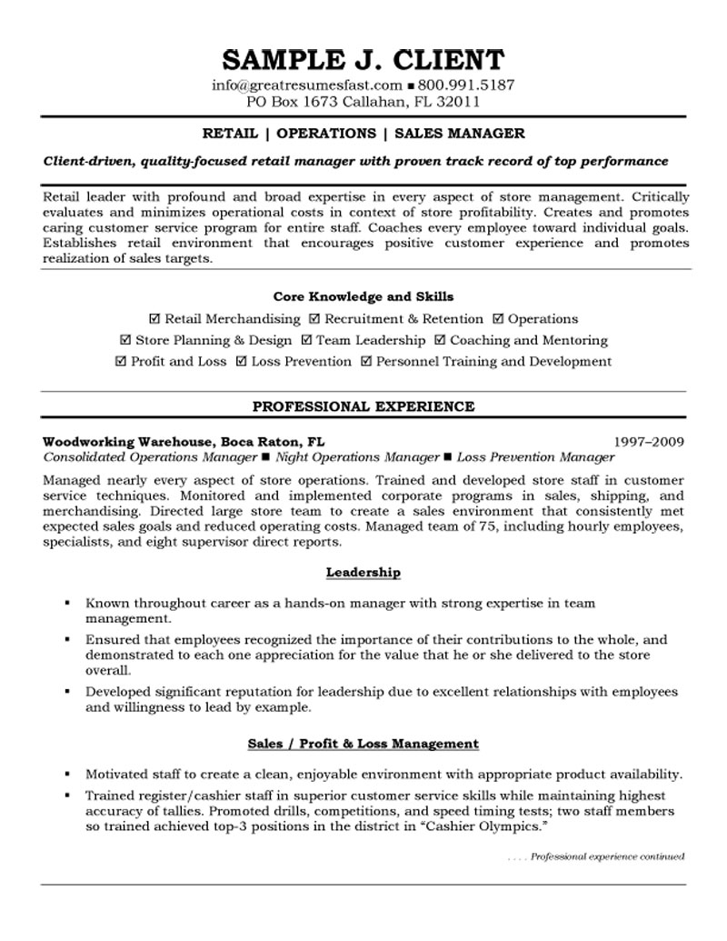resume retail skills 11 management