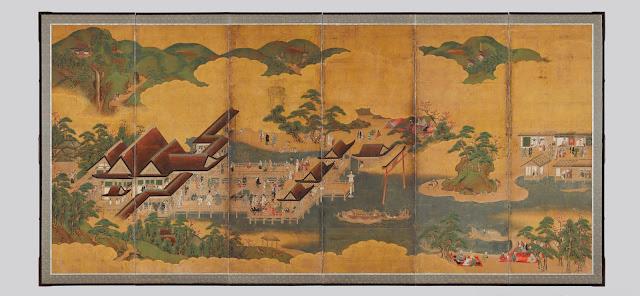 이쓰쿠시마‧와카우라를 그린 병풍(嚴島·和歌浦圖屛風), 36.4x24.0cm, 에도시대 17세기, 6폭 1쌍 병풍
