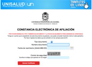 Certificado de Afiliacion Unisalud 2019 - 2020
