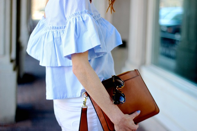 Cinco de Mayo outfit, Zara one shoulder ruffled top, white AE denim