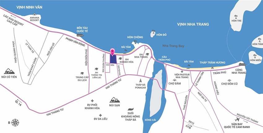 Vị trí Condotel Scenia Bay Nha Trang Phạm Văn Đồng