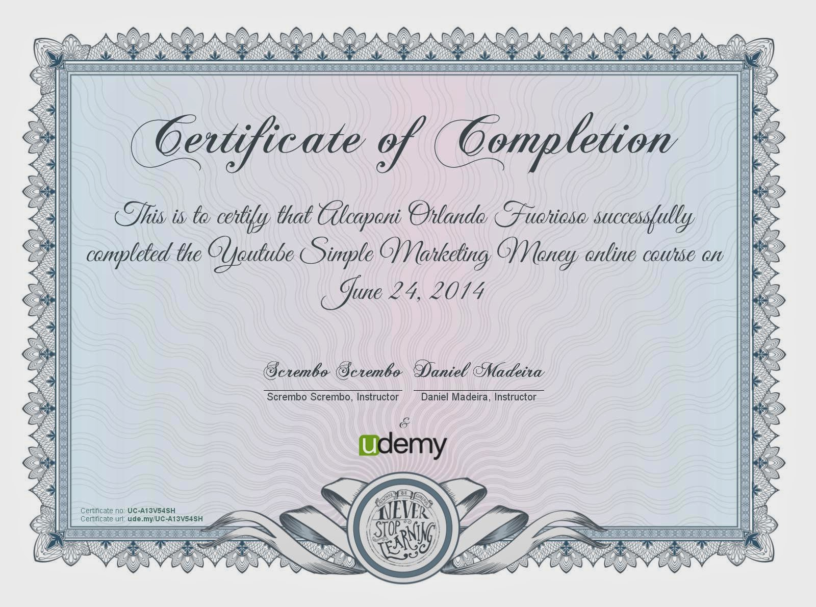 udemy certificate make money with youtube