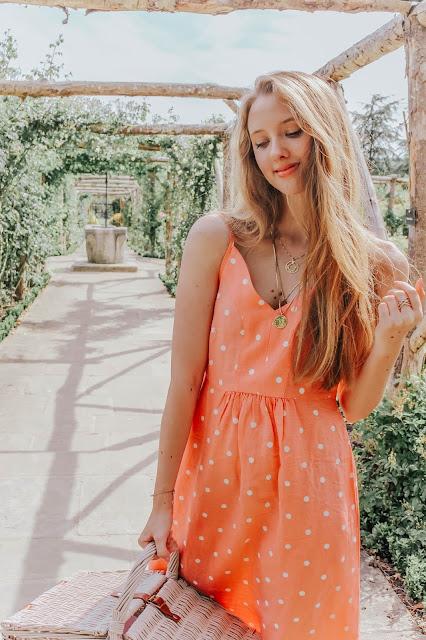 Joules Zoey Orange Polka Dot Print Strappy Dress