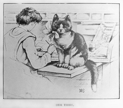 black and white illustration of cat and Jessey Wade at desk