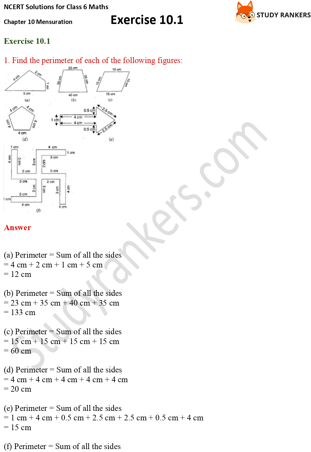NCERT Solutions for Class 6 Maths Chapter 10 Mensuration Exercise 10.1 Part 1