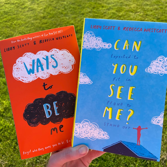 Orange front cover of Ways To Be Me with title text and blue front cover of can you see me with title text