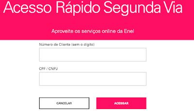 Imagem da Pagina de acesso a Segunda via Enel Ceará