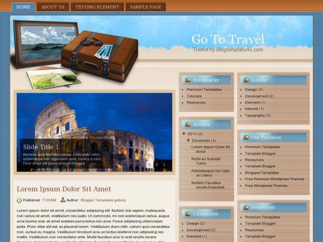Go to Travel Blogger Template