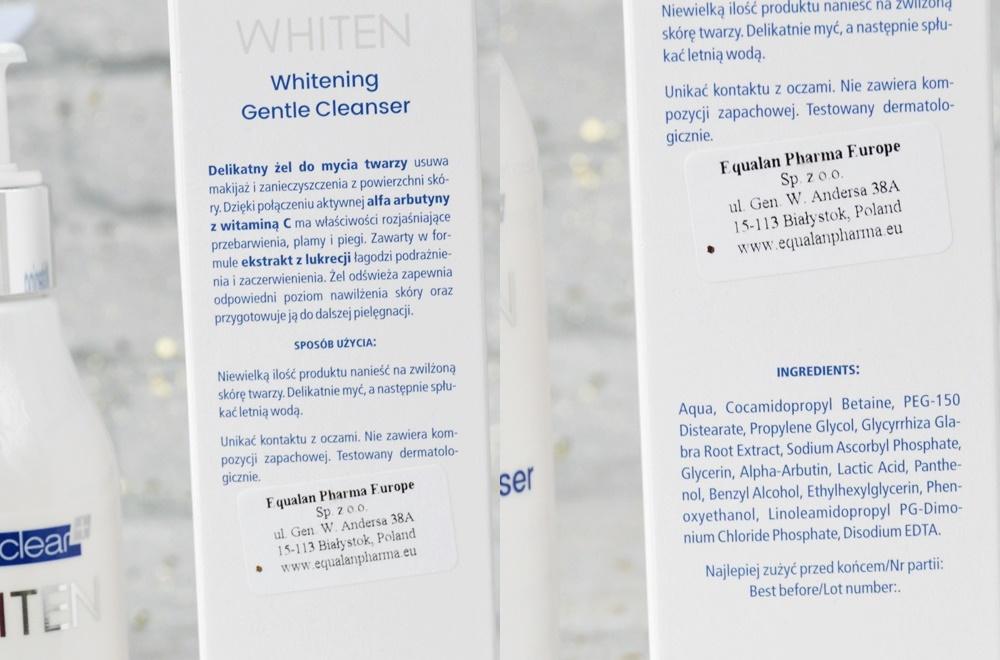 Novaclear, Whiten - linia dermokosmetyków wybielających, żel do mycia