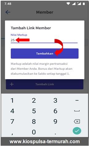 tambahkan markup kode referral di aplikasi android kios mobile topup