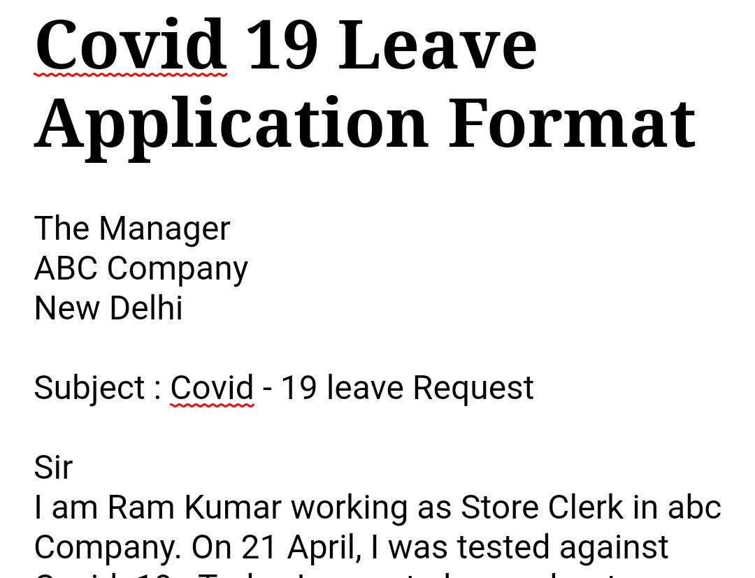 Corona Leave application format