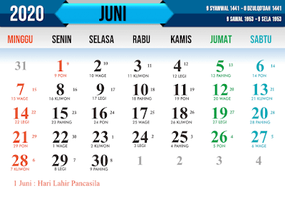 Download Kalender Nasional tahun 2020