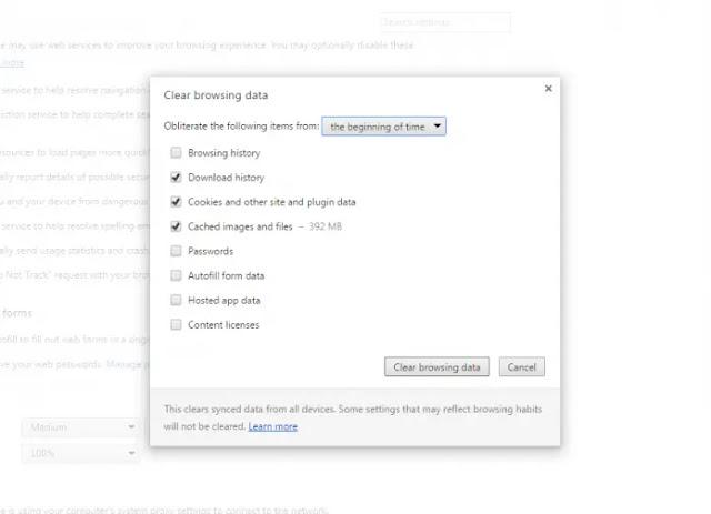 امسح ذاكرة التخزين المؤقت لـ Google Chrome