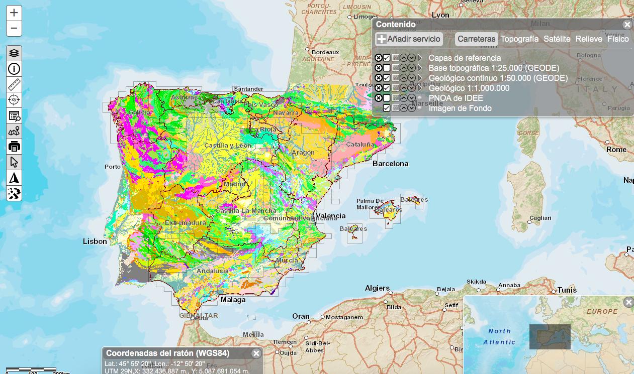 Mapa Espanha E Portugal.Mapa Geologico Completo De Portugal E Espanha