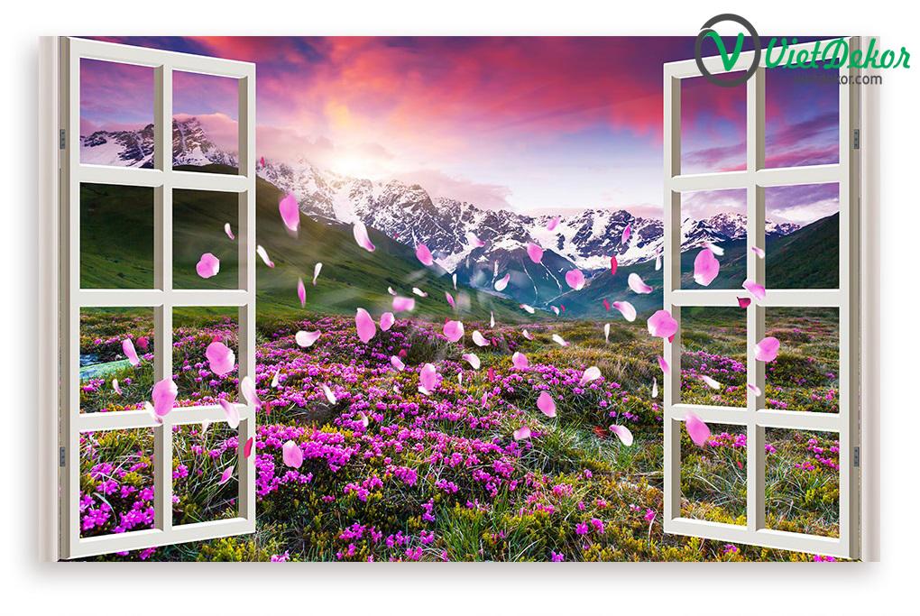 Tranh cửa sổ 3d phong cảnh vườn hoa