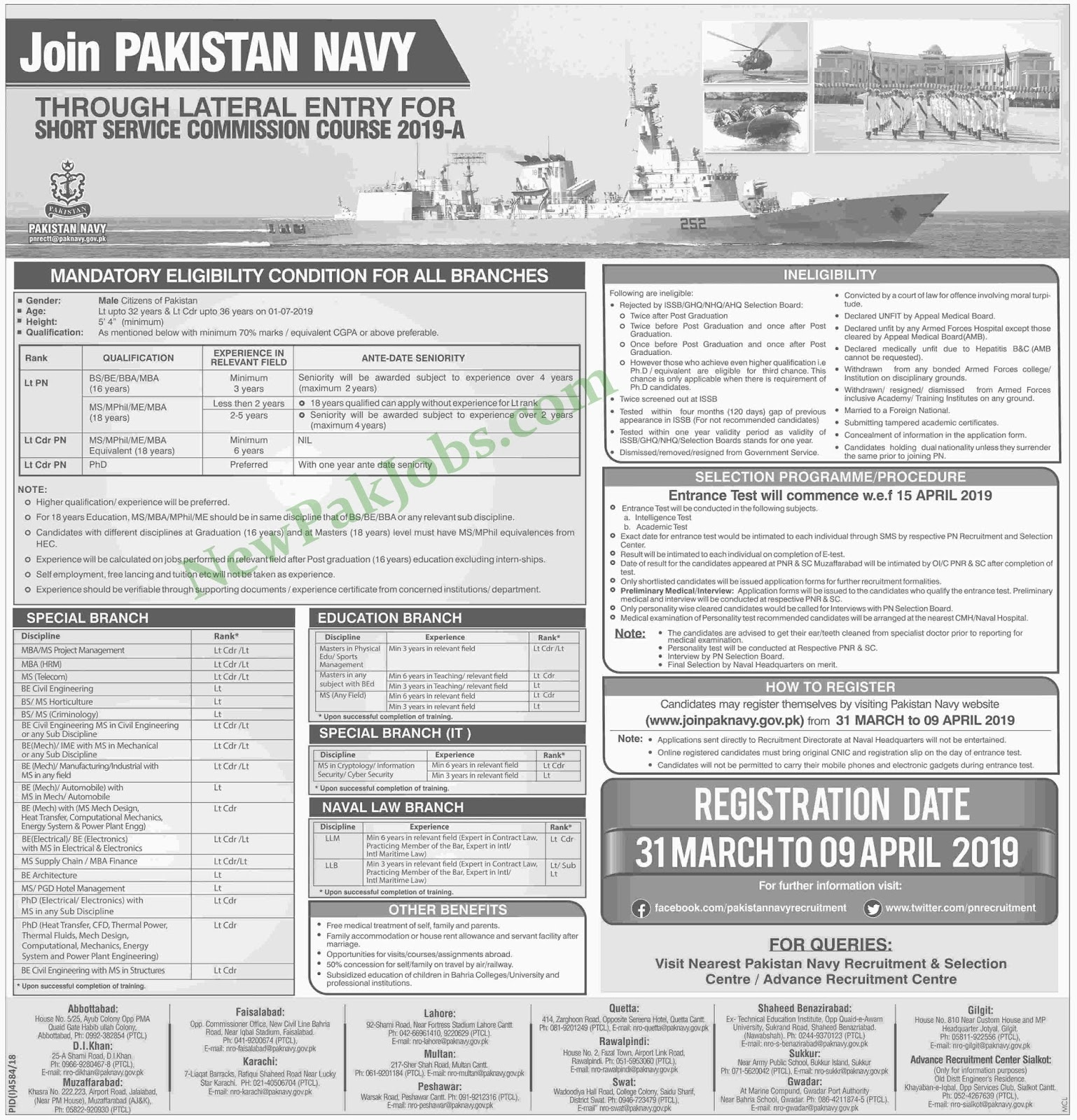 Join Pak Navy As Short Service Commission Course 2019-A