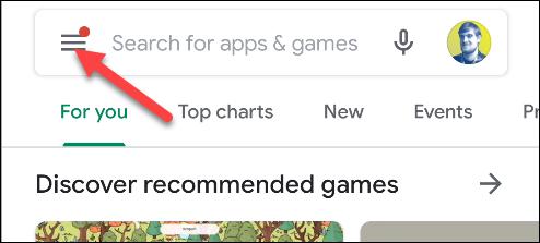google play اضغط على القائمة