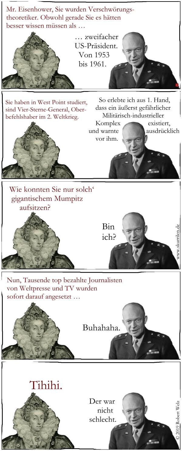 Eisenhower, Militärisch-industrieller Komplex, Verschwörung, Warnung, Satire, Comic, Collage, Politik, Macht, Medien, Presse