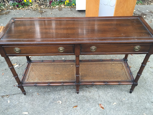 Thrift Score Thursday- faux bamboo leg console table