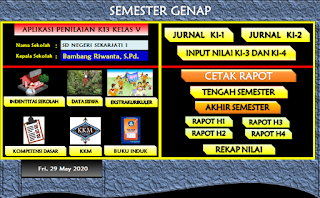 Download Aplikasi Raport K13 Kelas 5 Semester 2 Revisi Terbaru