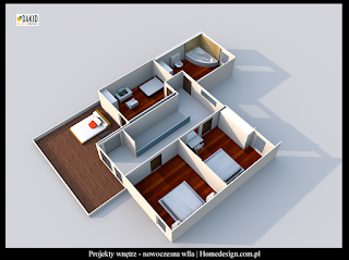 nowoczesne domy - piętro z tarasem