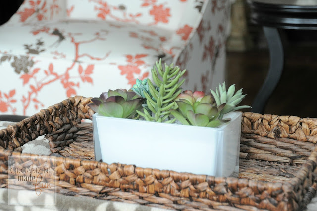 Faux Succulent plant on a rattan tray :: OrganizingMadeFun.com
