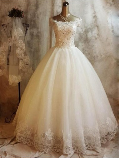 A-line Off-the-shoulder Floor-length Tulle Long Wedding Dresses 2016 #SP8239