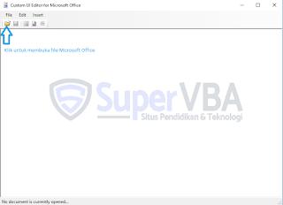 Tampilan awal Custom UI Editor office excel