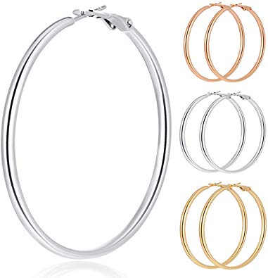 30% OFF on 3 Pairs Stainless Steel Hoop Earrings