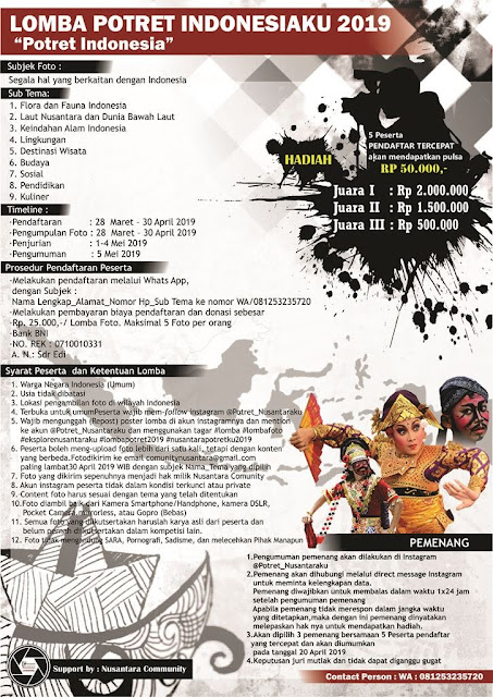 LOMBA POTRET INDONESIAKU 2019 ' Potret Indonesia