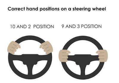 posisi memegang roda kemudi yang baik