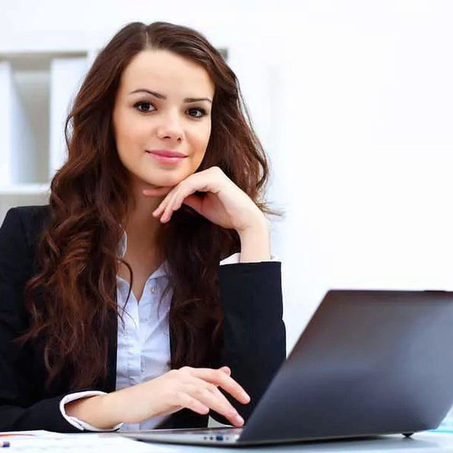 Introduction secretary girl smile nice look working laptop cute