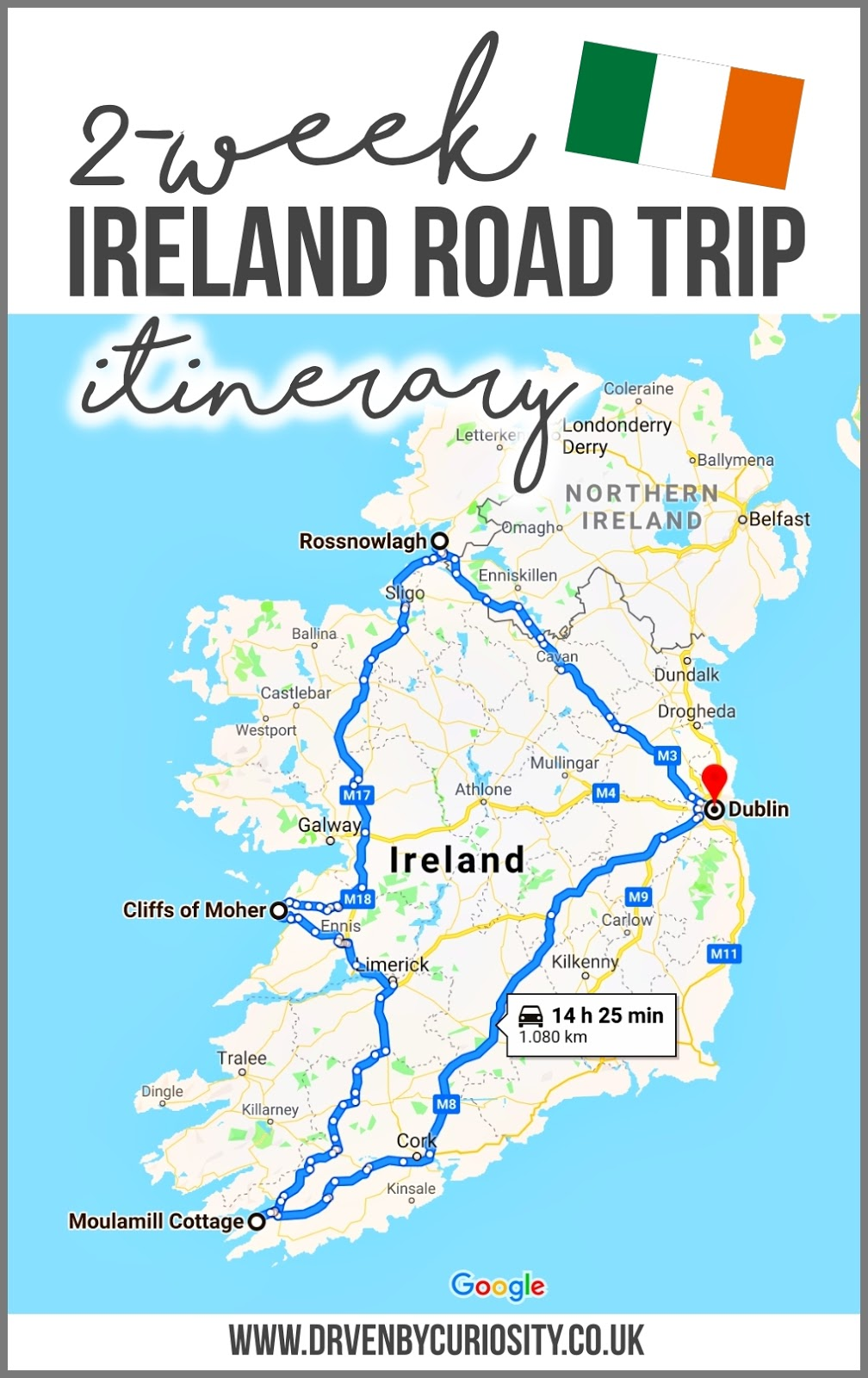 2 week ireland road trip itinerary map