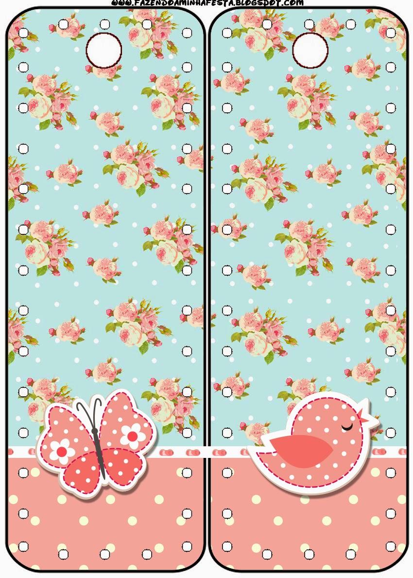 Marcapaginas para Imprimir Gratis de Pájaros y Mariposas.
