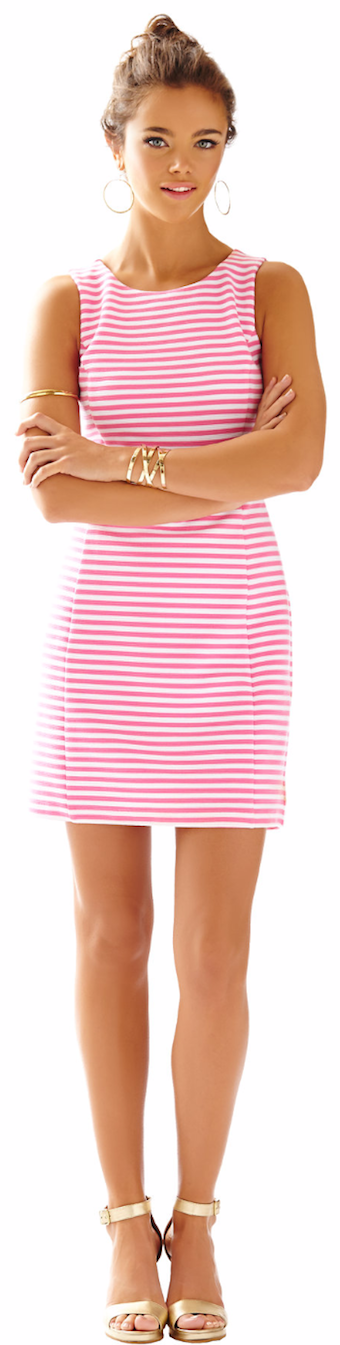 LILLY PULITZER WHITING CUT-OUT SHIFT DRESS HOTTY PINK