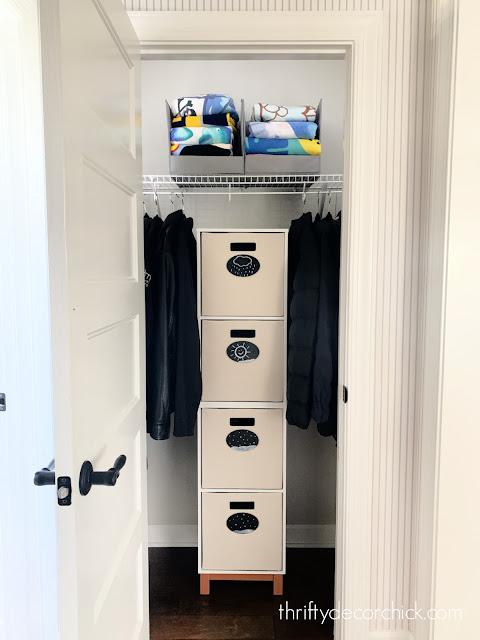 coat closet cubbies and bins
