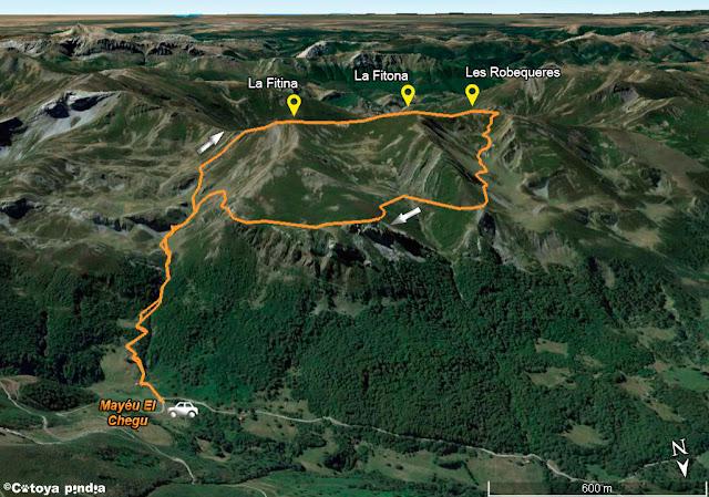 Mapa de la ruta señalizada a la Fitina, Fitona y Les Robequeres.