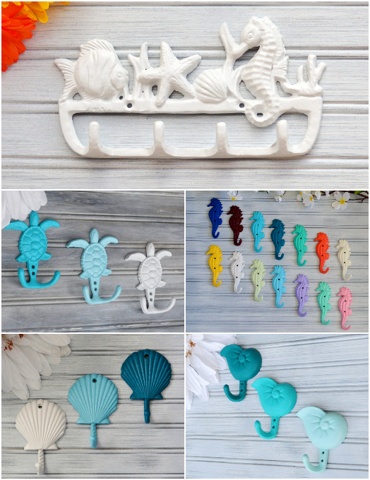 Painted Coastal Iron Hooks Sea Life Shells