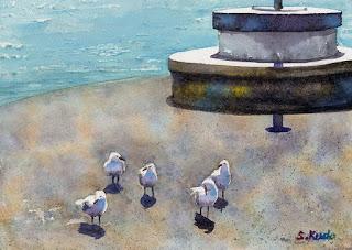 水彩画小品 かもめ ニュージーランドのデボンポートで。5羽のカモメがコンクリートの上を歩いている様子。