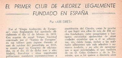 Primer club de ajedrez legalmente fundado en España
