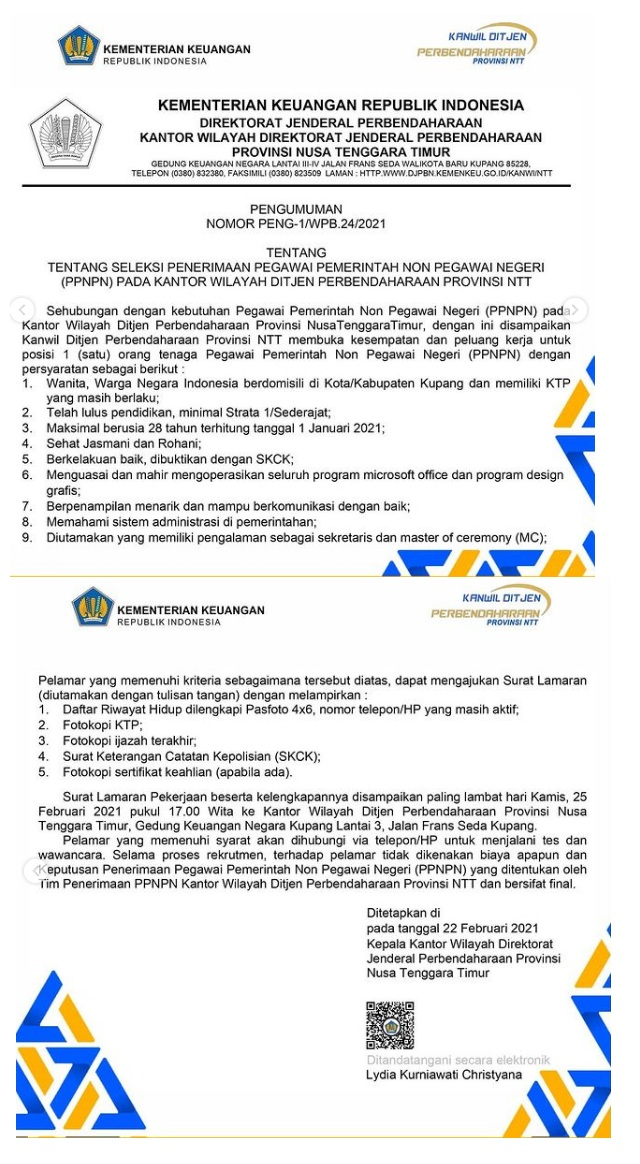 Pegawai PPNPN Kanwil Ditjen Perbendaharaan Kementerian Keuangan Tahun Anggaran 2021
