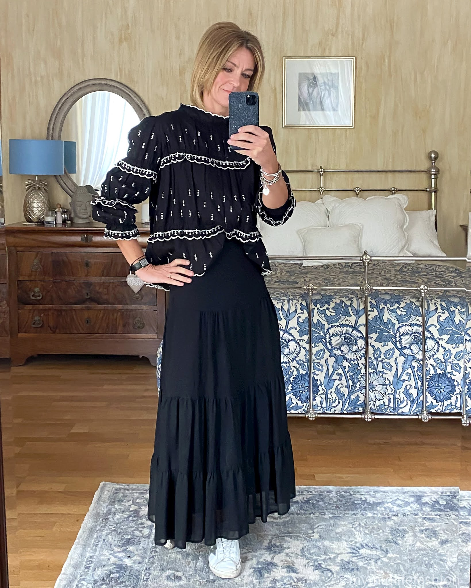 my midlife fashion, Isabel Marant Etoile embroidered blouse, marks and Spencer tiered maxi skirt, golden goose superstar low top leather trainers