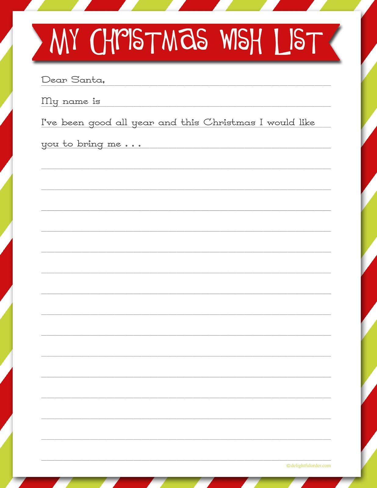 Delightful Order Christmas Wish List