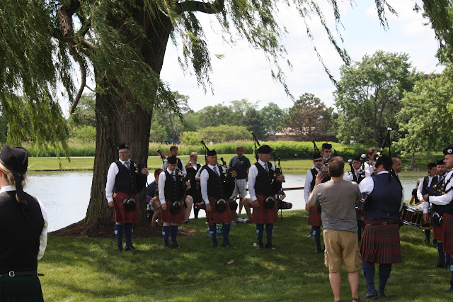 Scottish bagpipers at the Scottish Festival and Highland Games in Itasca, IL
