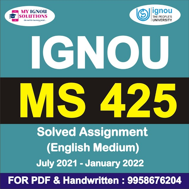 MS 425 Solved Assignment 2021-22