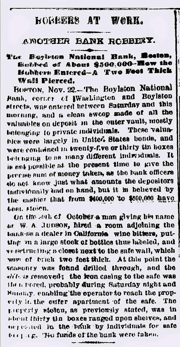 Original Worth bank robbery article - New York Times