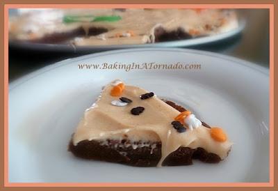 Chocolate Pizza with Spiced Cream Cheese Frosting   Recipe developed by www.BakingInATornado.com   #recipe #dessert