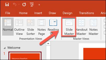 اضغط على عرض> شريحة رئيسية للوصول إلى قالب الشريحة الرئيسية.
